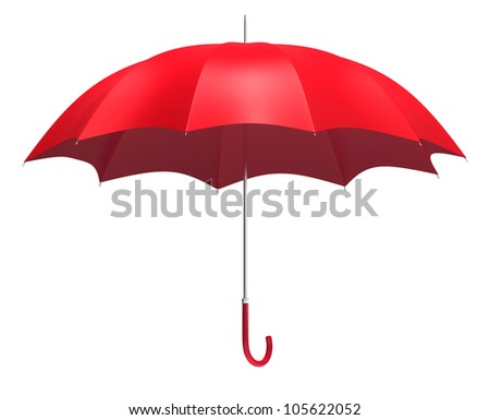 Open red umbrella - isolated on white background