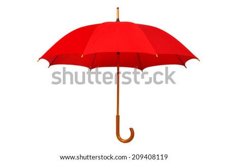 Open red umbrella isolated on white background #209408119