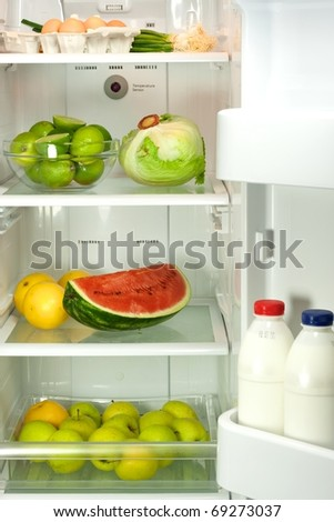 Open refrigerator full with some kinds of food