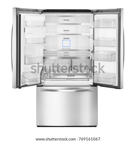 Open Refrigerator Isolated on White Background. Front View of Stainless Steel Fridge Freezer. Empty French Door Refrigerator. Electric Appliances. Kitchen Appliances. Domestic Appliances #769161067