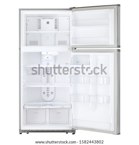 Open Refrigerator Isolated on White Background. Front View of Stainless Steel Top Mount Fridge Freezer. Electric Kitchen and  Domestic Major Appliances. Two Door Top-Freezer Fridge Freezer