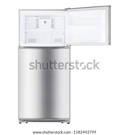Open Refrigerator Isolated on White Background. Top Mount Fridge Freezer. Electric Kitchen and  Domestic Major Appliances. Front View of Stainless Steel Two Door Top-Freezer Fridge Freezer Stockfoto ©