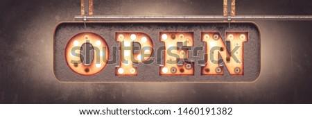 OPEN - retro bulb letters signboard - banner