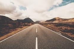 Open road in Glencoe, Scotland. Scottish Highlands.