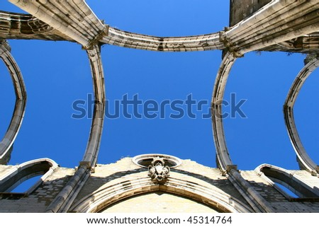 Open roof construction of Igreja do Carmo ruins in Lisbon, Portugal