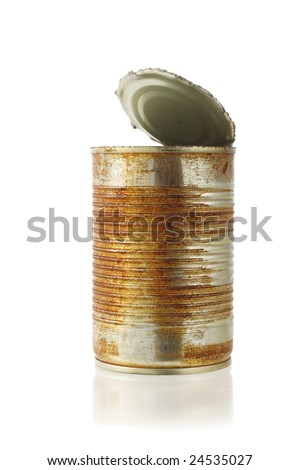 open rusty tin can on white background