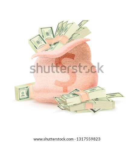 Open sack with dollar sign full of green banknotes raster illustration banking money symbol isolated on white background, greenback profit savings