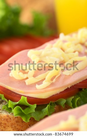 Open sandwich with lettuce, tomato, cheese, ham and grated cheese on top (Selective Focus, Focus on the front of the sandwich)