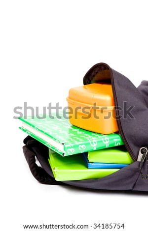 open schoolbag with books and lunchbox on white