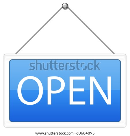 Open Sign in blue color
