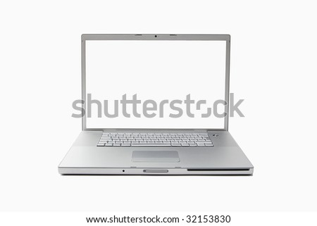 open silver laptop computer isolated on white background