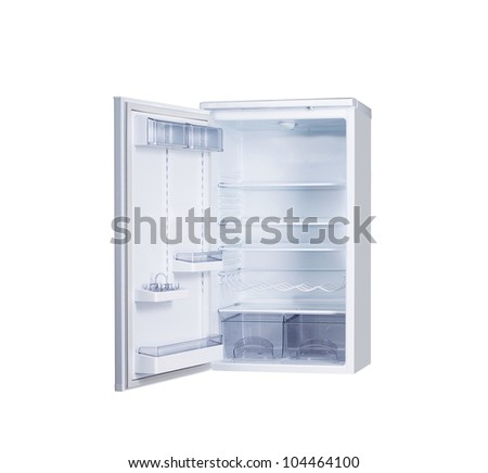 open single door fridge isolated on white