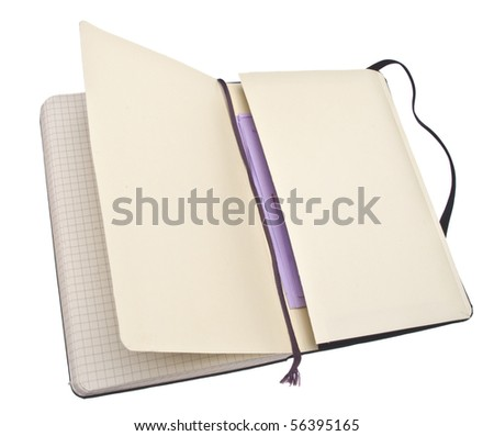 Open Sketch Book with Papers in the Back Pocket.  Isolated on White with a Clipping Path.