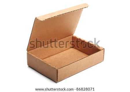 Open small cardboard box isolated on white background. Tilt view.