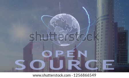 Open source text with 3d hologram of the planet Earth against the backdrop of the modern metropolis. Futuristic animation concept #1256866549