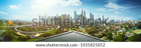 Open space balcony with Kuala Lumpur cityscape skyline view  .