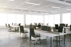 Open space loft office with furniture and big windows 3D Render