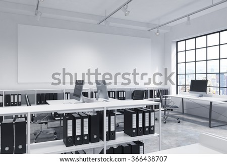 Open Space Office, Big Window To The Right, New York View, Tables With  Computers, Office Chairs, ...