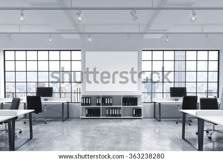 Open space office, big windows with New York view, tables with computers, office chairs, shelves with folders, lamps on the ceiling, big white board between windows. Front view. Concept of work Stock photo ©