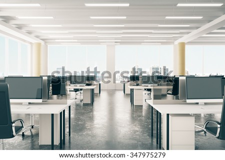 Open space office in loft style hangar with windows in floor and city view 3D Render #347975279