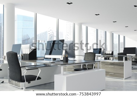 Open space office interior with white walls and ceiling, a concrete floor and panoramic windows. A row of computer desks with blank screens. Corner. 3d rendering mock up