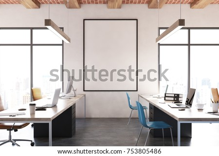 Open space office interior with white walls, computer desks, blue chairs and a framed vertical poster. 3d rendering mock up