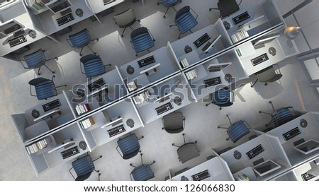 open space office top view