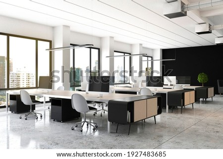 Open space office with modern wooden furniture, computers on tables, glossy floor and big window with city view. 3D rendering
