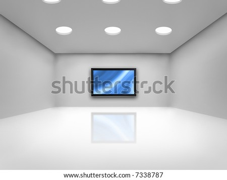 Open space with a plasma tv on the wall reflected on the floor