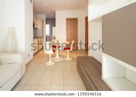 Open space with kitchen and living room. Nobody inside