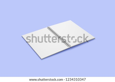 Open spiral bound book mockup with blank pages isolated