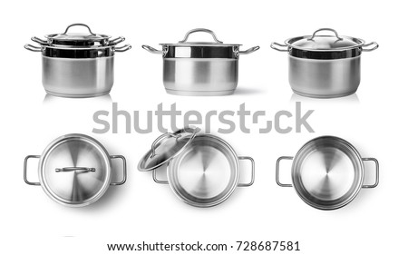 Open stainless steel cooking pot isolated on white  #728687581