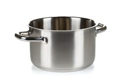 Open stainless steel cooking pot over white background