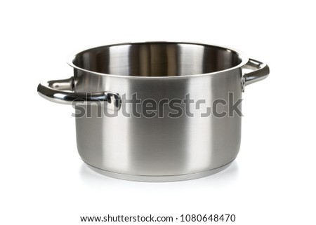 Open stainless steel cooking pot over white background #1080648470