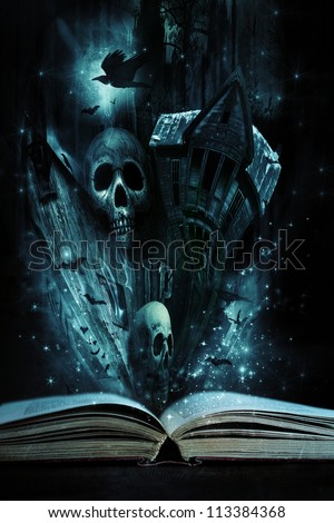 Open story book with Halloween stories coming alive - stock photo
