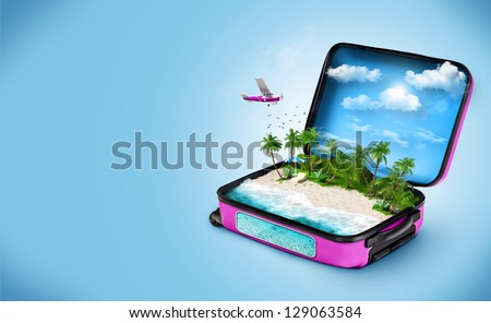 Open suitcase with a tropical island inside. Traveling