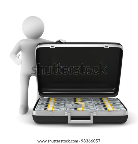 Open suitcase with dollars on white background. Isolated 3D image