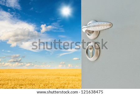 Open the door handle and keys - stock photo