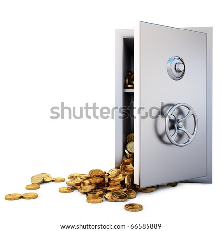 open the safe with a bunch of gold coins fell out. isolated on white. with clipping path.