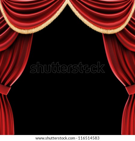 Open theater drapes or stage curtains with a black background