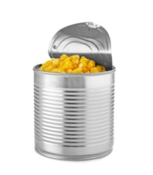 Open tin can with corn kernels on white background