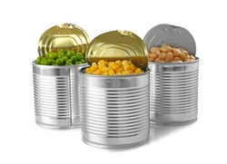Open tin cans with different food on white background