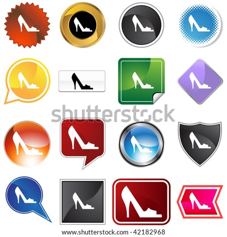 Open toe shoe variety set isolated on a white background.