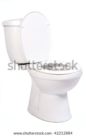 open toilet bowl isolated on white background. White toilet bowl with water tank. porcelain toilet bowl on a white background. Toilet bowl with open cover. New Clean toilet bowl made of porcelain.