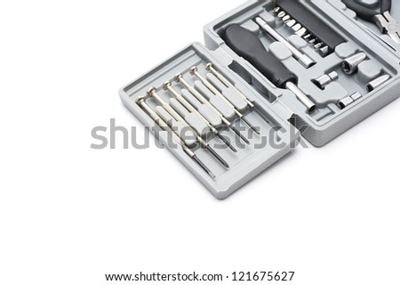 open tool box on white background, close-up