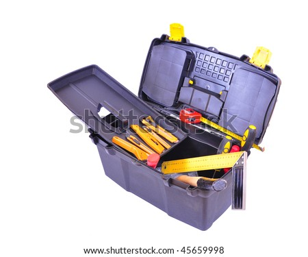 Open toolbox with many different tools, isolated on white with clipping path