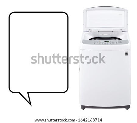 Open Top Load Washing Machine Isolated on White. Home Innovation. Top View of White 4.5 cu. Capacity 8.5 kg Top Loading Washer  with Integrated Control Panel. Domestic and Household Major Appliances