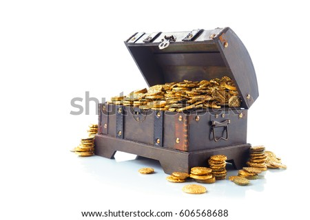 Open treasure chest filled with gold coins isolated on white stock photo