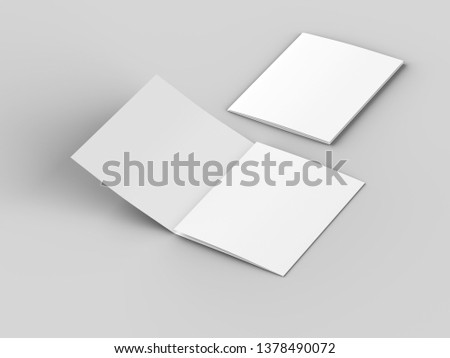Open tri-folded leaflet in square format. 3d illustration