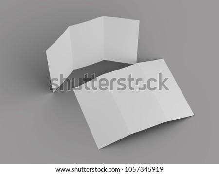 open trifold brochure mock up - 3d illustartion